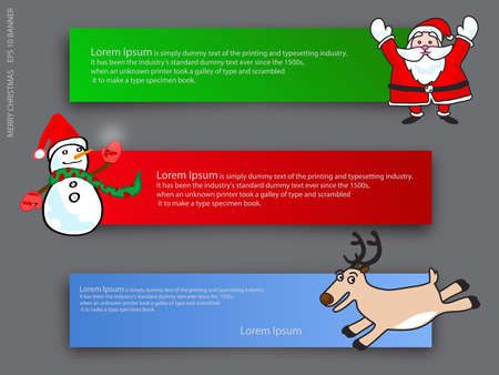 chritmas cartoon banner, vector Vector