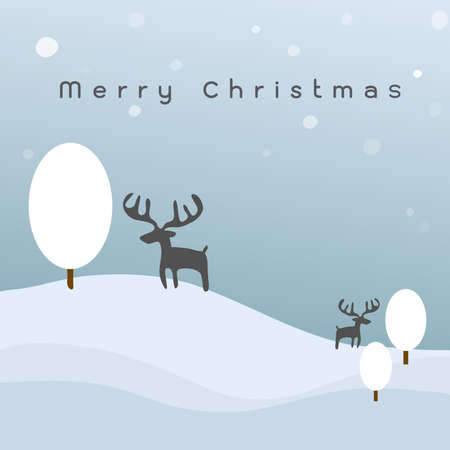 snowy hills christmas night, vector Vector