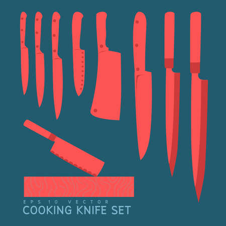 stainless steel kitchen: cooking knife set vector