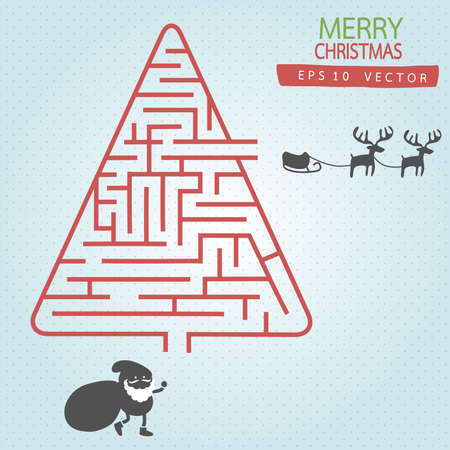 brainteaser: Santa with Maze Christmas tree  vector