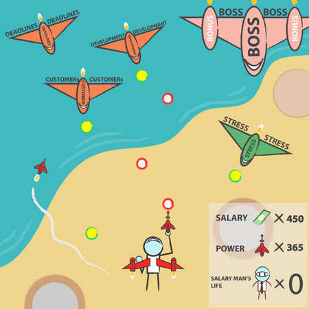 salary man: salary man s life arcade game, vector