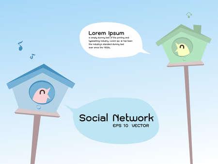 internet connection: social network bird, vector