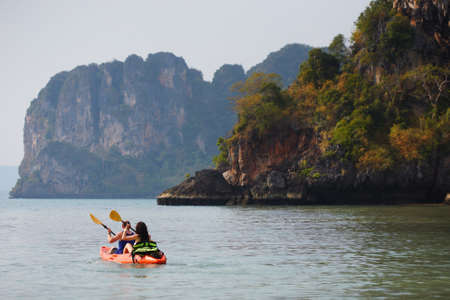 kayaking in ocean with mountain view, Krabi-Thailand photo