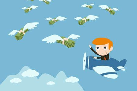 conquistando: empresario marcha para coger dinero