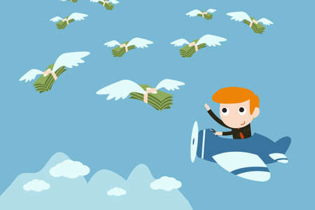 businessman fly to catching money