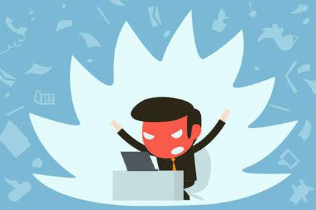 destructive: mad businessman in office Illustration