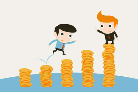 rise to the top: businessman jumping on coin graph