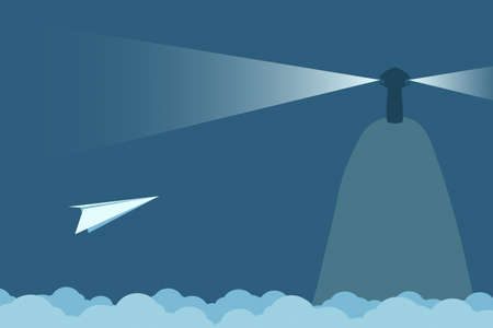 paper plane and light house Vector