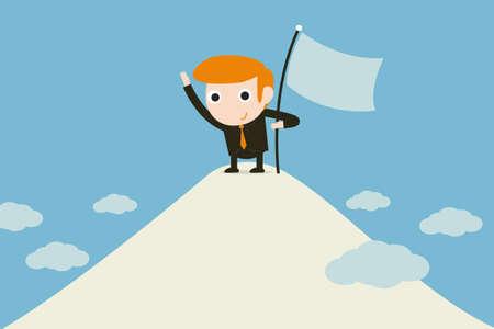 man sinking flag on summit