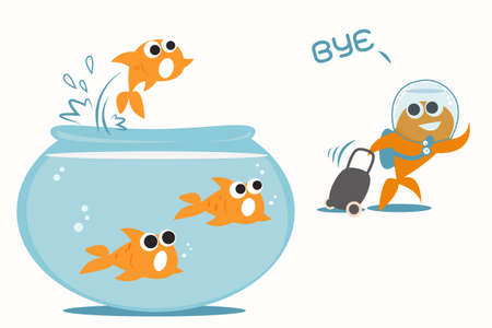 goldfish jump: goldfish leaving tank