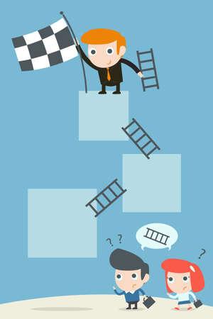 concrete stairs: businessman success  Illustration