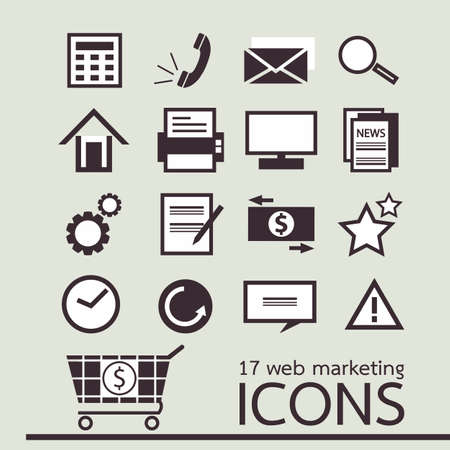 web - marketing icons Stock Vector - 18684653