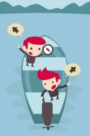 temper: businessman debate on boat.  Illustration