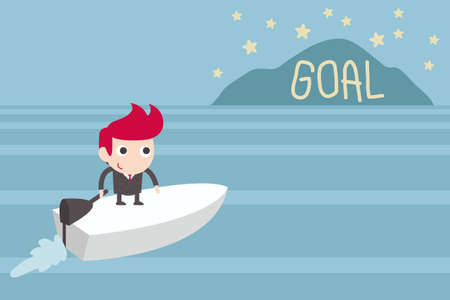 inspiration determination: goal setting, man sailing to goal island
