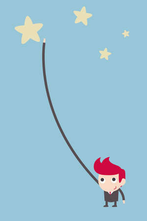 perseverance: business man reaching the star. Illustration