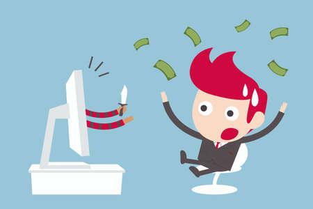 office theft: computer crime, concept cartoon vector. Illustration
