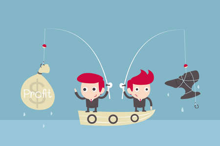 money cartoon: businessman challenge fishing. Illustration