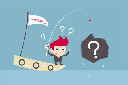 financial questions: man get trouble investment-fishing Illustration