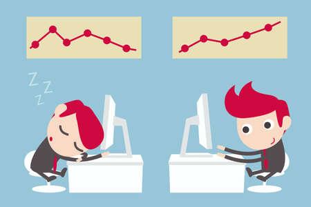 lazy and hard working businessman  Illustration