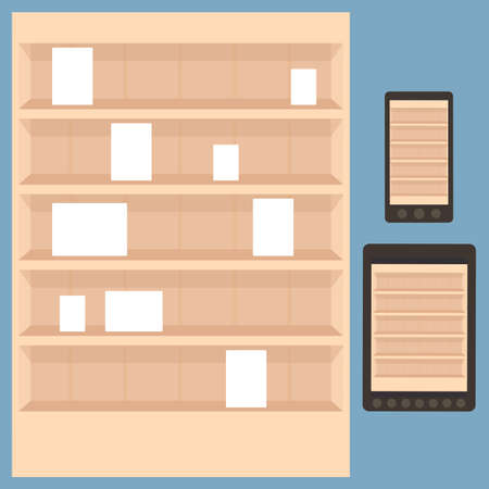 book shelf for apps store Vector