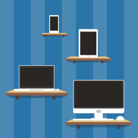 computer and tablet on shelf Vector