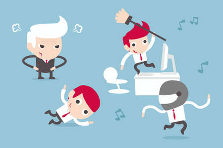 business people dancing in office Vector