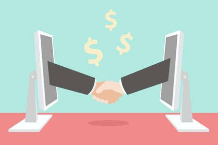hand shaking, E-business concept