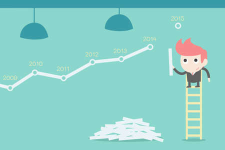 creating: Businessman creating stock chart Illustration