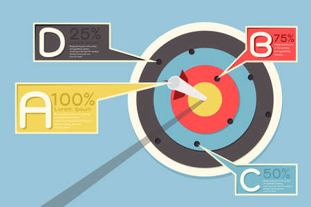 missed: Arrow and target infographics design, vector
