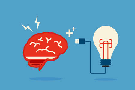 brain and bulb idea, minimal art vector design