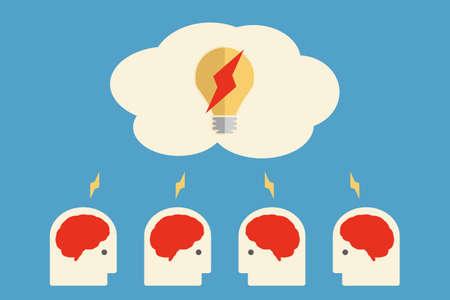 Brain storming, bubl idea vector Vector