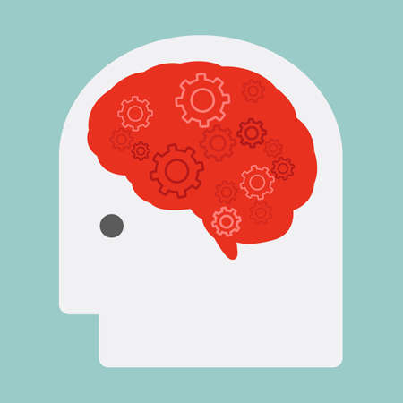 concentration gear: brain and gears, vector Illustration