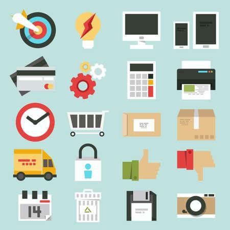 web commerce: business web, commercio design minimale set di icone, vettore Vettoriali