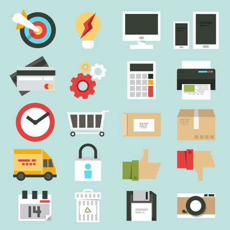 business web, commerce minimal design icons set, vector Vectores