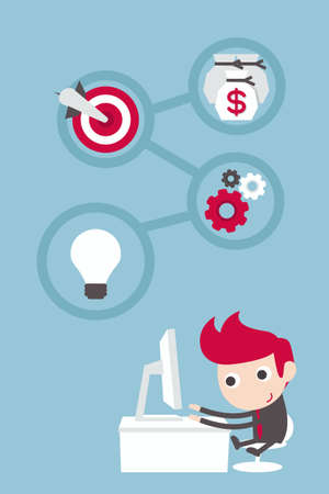 businessman working with plan and target Illustration