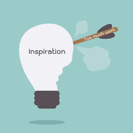 work and inspiration concept cartoon, vector