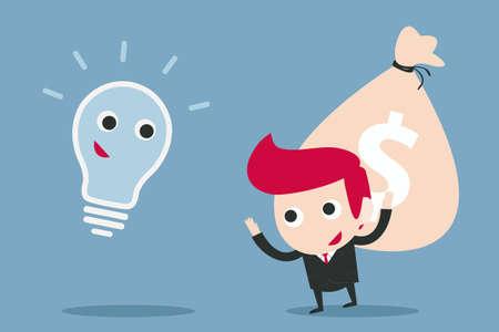 businessman and bulb idea, vector Stock Vector - 20980907