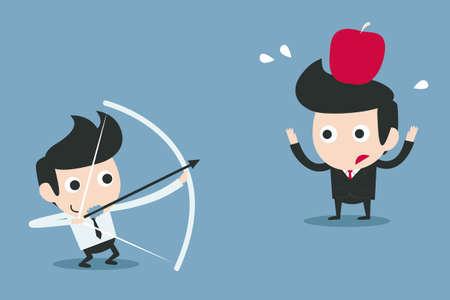 manzana caricatura: riesgo, business partner concepto de vector de la historieta Vectores