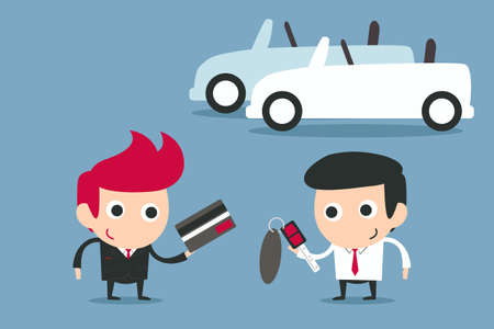 selling service: happy businessman buying car, vector Illustration