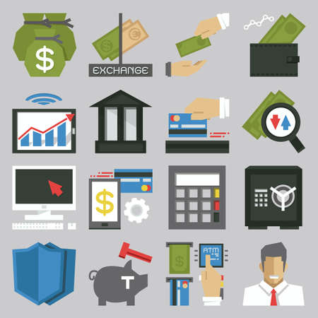 sales bank: money icon set, vector
