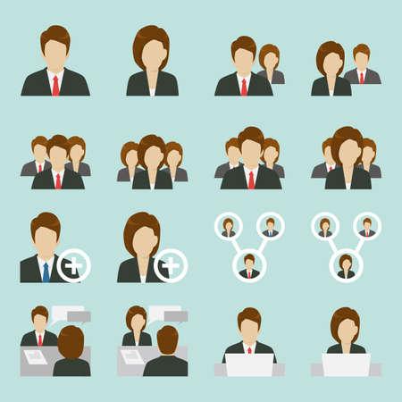 avatars: Ufficio icone di persone disegno, vettore