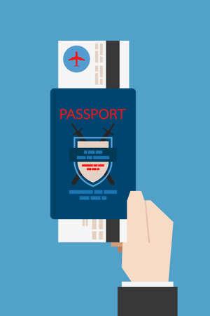stempel reisepass: Hand h�lt Reisepass, Vektor Illustration