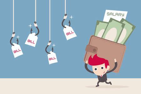 salaris man en betaling van facturen, cartoon vector