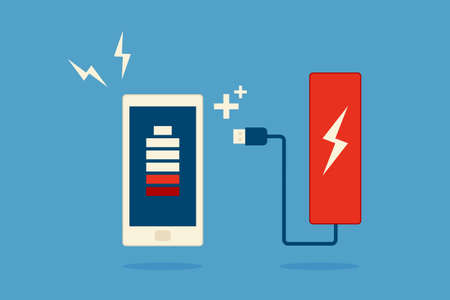 mobile phone and battery icon design vector Illustration