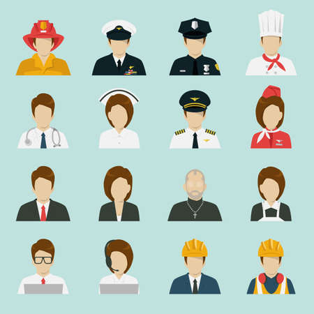 police cartoon: profession icons set, vector