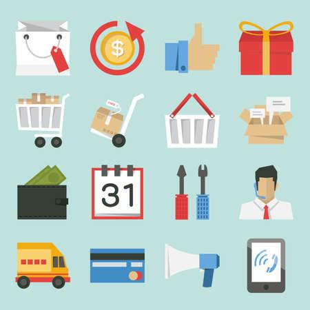 e commerce: marketing-sales iconen ontwerp, minimalistische stijl vector