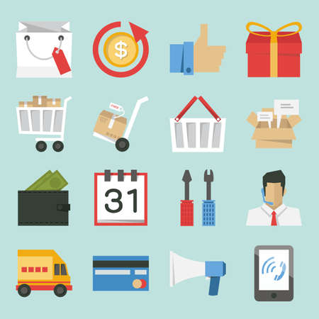 mobile shopping: marketing-sales icons design, minimal style vector
