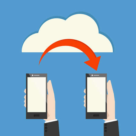 transferring: mobile phone transferring data from cloud, vector