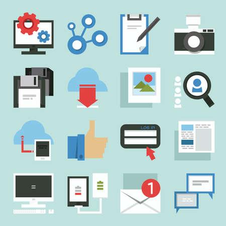 Social Media iconen minimalistisch design, vector Stock Illustratie