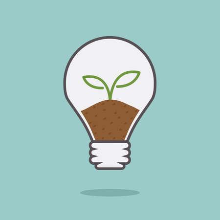 bulb light idea with plant, minimal vector design  photo